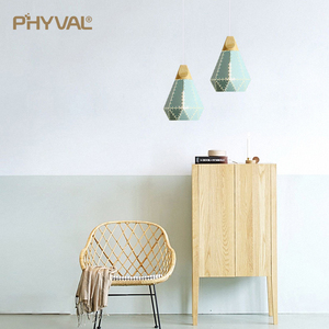 Image 3 - PHYVAL Pendant Light Modern E27 Macron Color Pendant Lamp Wood Iron Lampshade Cable 1.2m Pendant Lamp For Bedroom