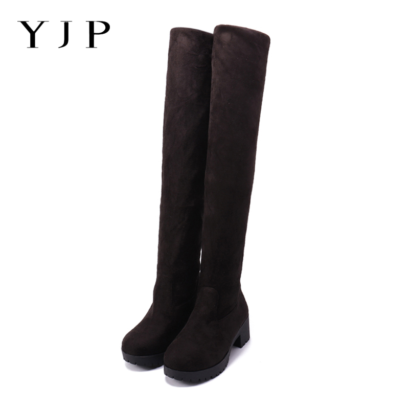 YJP Women Stretch Suede Over the Knee Boots,3 Colors Turned-over Edge Adjustable Length Ladies Thigh High Boots, Plus Size Shoes r l sterup over the edge