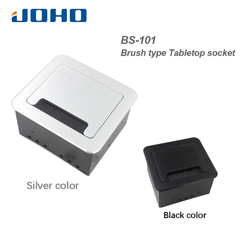 JOHO Multi-Function Desktop Socket Box Black Silver Aluminum Alloy EU Plug Phone USB Charger Interface Table Socket BS-101 lg110 electric desktop socket flip type multi function socket conference table socket factory
