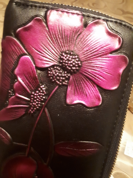 Fashion Floral Long Women Wallets Genuine Leather Women Coin Purse Card Wallet Design Lady Party Clutch Female Card Holder photo review