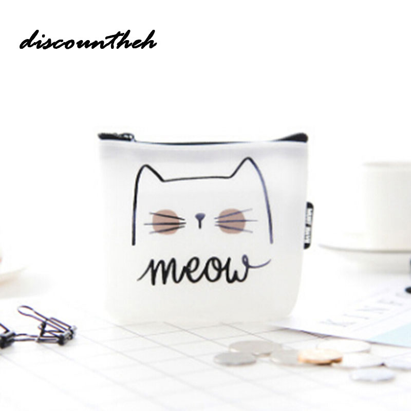 купить Women Girls Cute Cat Printed Coin Purse Fashion Snacks Coin Purses Wallet Bag Silicone Zipper Small Change Pouch Key Holder Bags недорого