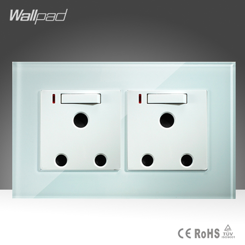 Double 16A UK Switched Socket Wallpad White Crystal Glass 146*86mm 16A UK South Africa Wall Socket and Switch with LED wallpad luxury double 13 a uk switched socket goats brown leather 1 gang switch and 13a wall socket with neon free shipping