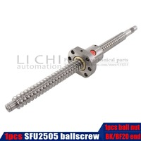 2019 BallScrew SFU2505 300 800 850 900 1000 mm ball screw C7 with 2505 flange single ball nut BK/BF20 end machined for cnc Parts
