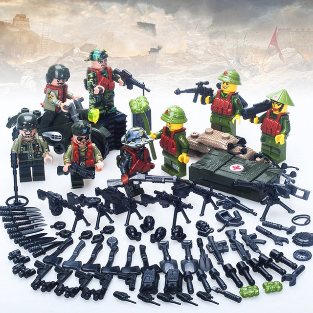 7pcs Figures With Many Weapons Military Army Soldiers Building Blocks Set Toys For Children Compatible With LegoINGly Weapon qunlong military 8in1 829pcs 8 figures building blocks compatible legoed tank warship army war toys for children constructor set