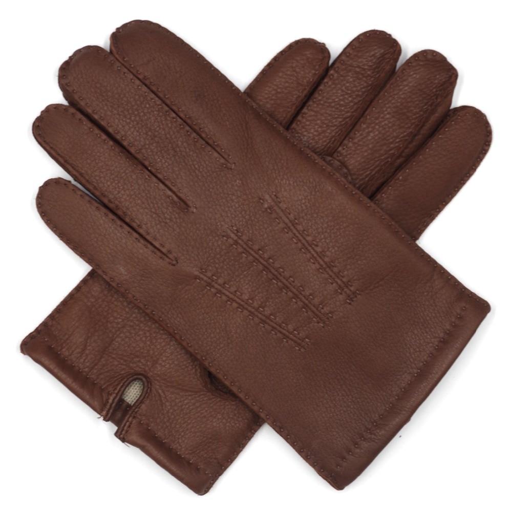 Harssidanzar-Mens-Deerskin-Leather-Gloves-Cashmere-Lined-Vintage-Finished-1
