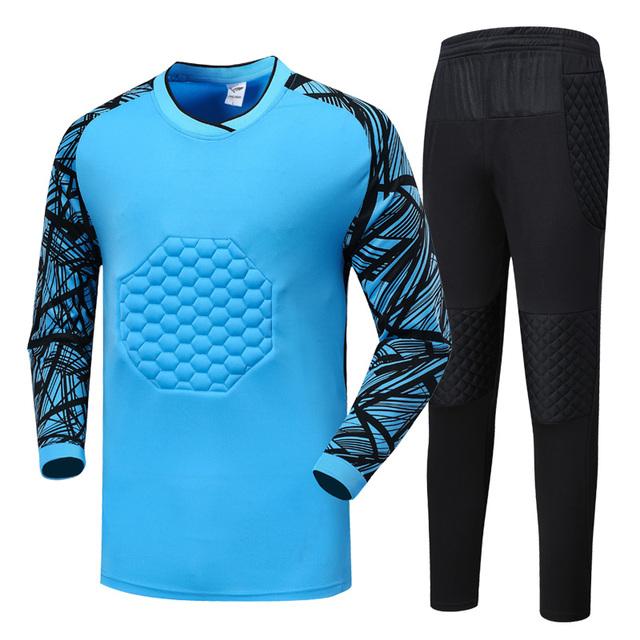 Men Soccer Goalkeeper Jerseys Football Sets Goal Keeper Uniforms Suit Training Pants Doorkeepers Shirts Shorts Sports Kit Custom