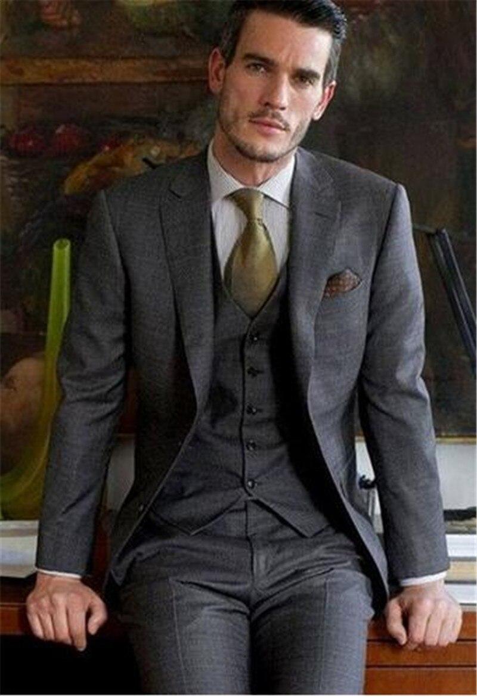 Custom made grey gap Lapel man suit two button suit best mens suits wedding dress terno masculino (jacket+pants+vest)