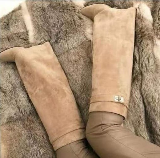 New-Colors-Beige-Suede-Shark-Lock-Fold-Over-Thigh-High-Belted-Boots-Pointed-Toe-Covered-Wedge