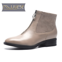 hot deal buy mljuese 2019 women ankle boots cow leather rome style zippers winter warm fur short plush  boots women chelsea boots size 33-40