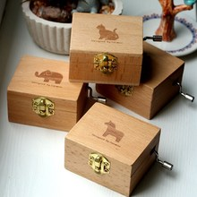Vintage Wooden Music Box Animals Prints Musical Case Box Homw Room Table Desk Decoration Wedding Birthday Gifts Kids Toys