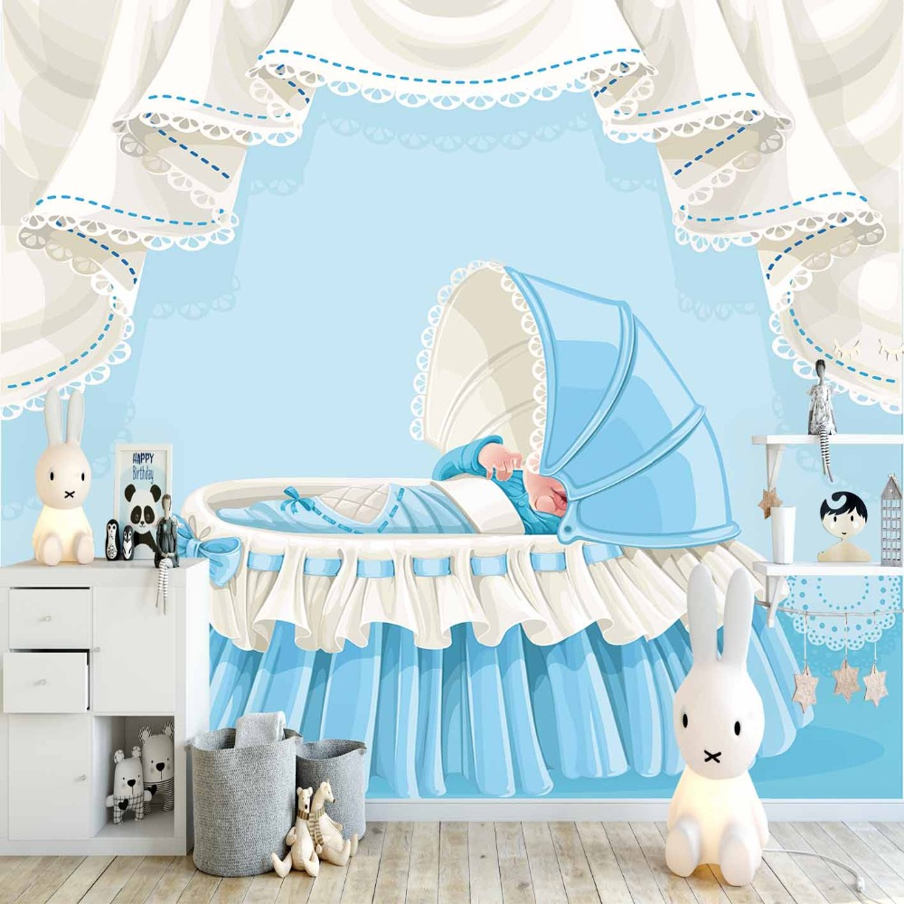 Else Blue White Baby Boy Cradle 3d Print Cartoon Cleanable Fabric Mural Kids Children Room Background Wallpaper