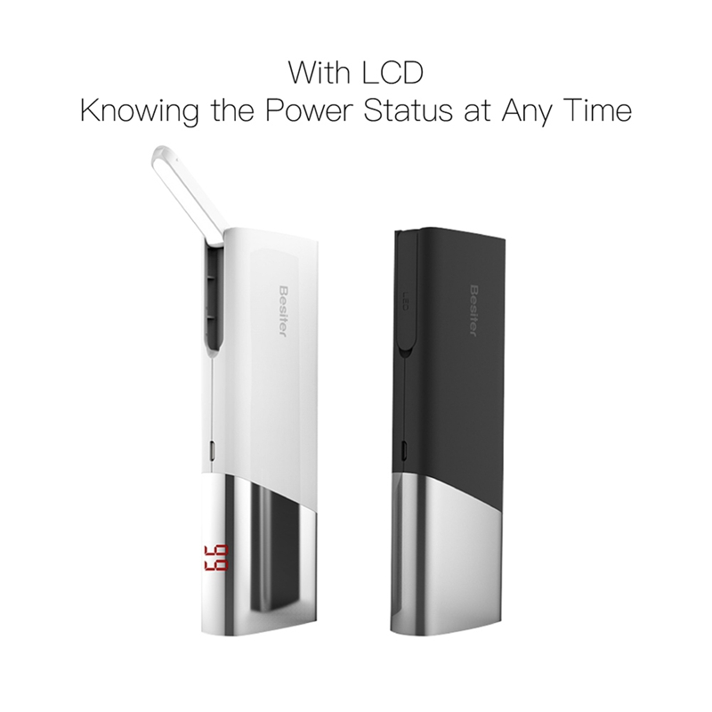 Besiter 10000mah Power Bank Dual USB Port with LED Light External Battery Charger for Phones Portable Power Charger As Gift