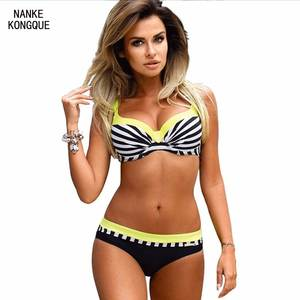 db605904e3 Nanke Kongque Sexy Stripe Solid Color Printed Bikini Set 2018 Ladies  Swimwear Brazilian Bathrobe Women's Swimwear Swimsuits XXXL