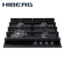 Встраиваемая панель с газ-контролем HIBERG VM 6044 B, газ на закаленном стекле, мощные чугунные решетки, WOK
