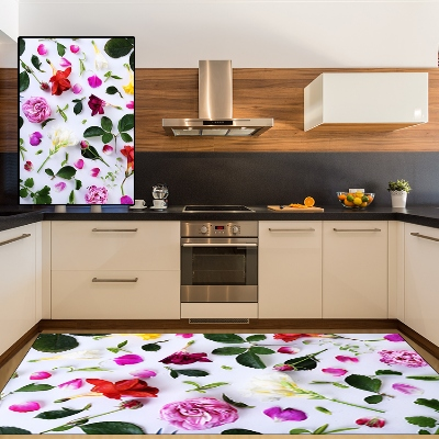 Else Green Red White Flower Floral Leaves 3d Pattern Print Non Slip Microfiber Kitchen Modern Decorative Washable Area Rug Mat