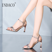 Sandals Women Summer Shoes High Heels Gold Silver Leather Fashion 7cm 2019