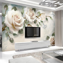 Modern minimalist hand-painted oil painting flowers European-style wall decoration custom wallpaper mural