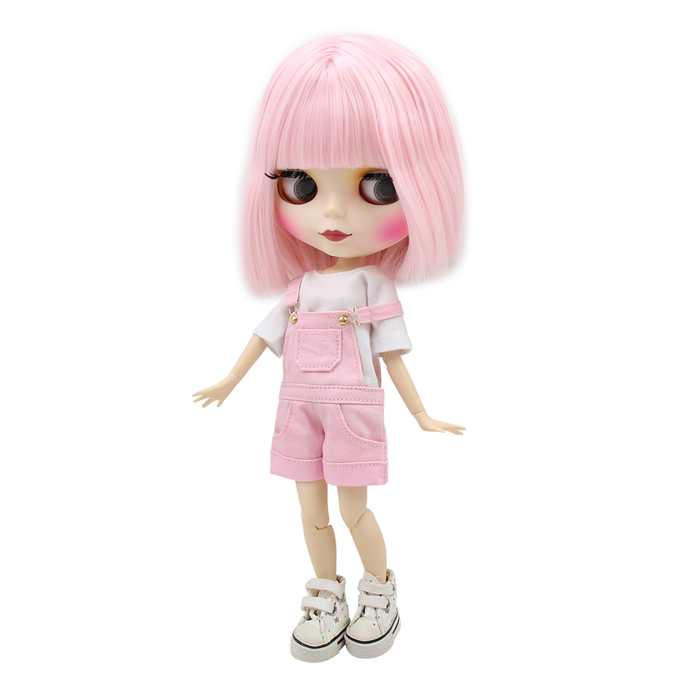 Factory Blyth Doll Short Pale Pink Hair Matte Face Joint/normal Body White Skin 130BL2352 1/6 30cm, Naked Doll