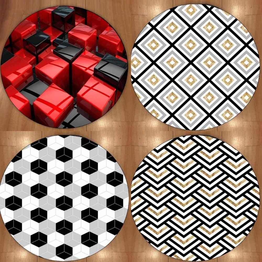 Else Black Red Cubes Tales Geometrics 3d Non Slip Microfiber Round Carpets Area Rug For Living Rooms Kitchen Bedroom Bathroom
