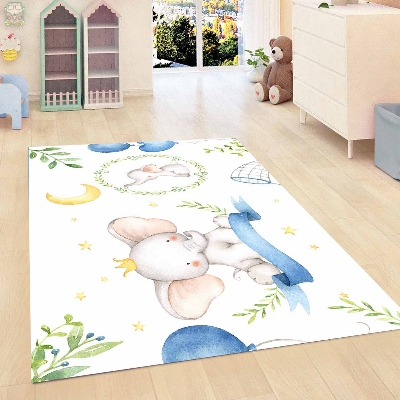 Else Blue Cute Elephants Yellow Stars Leaves Kids Room 3d Print Non Slip Microfiber Children Kids Room Decorative Area Rug Mat