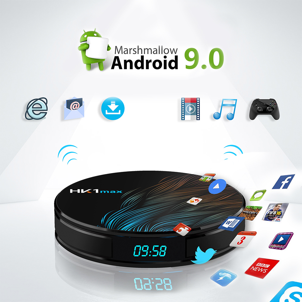 Android 9.0 TV box HK1max smart TV box support IPTV subscription 4K RK3328 4G ram 32G/64G 2.4G/5G Wifi android tv prefix pk X96-in Set-top Boxes from Consumer Electronics    1