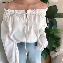 Xnxee Sexy Slash neck Women Blouse 2018 Spring New Fashion Ruffles Flare Sleeve Shirts Solid Elegant Female Blusas 66842