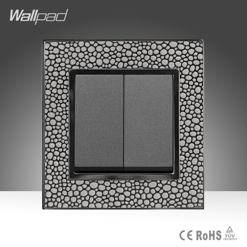 New Design 2 Gang 1 Way Wallpad Luxury Pearl Leather Plate UK Standard Two Gang One Way Electric Wall Switch  Free Shipping автоинструменты new design autocom cdp 2014 2 3in1 led ds150