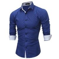 2017 Fashion Collar Mens Brand Shirt Long Sleeve Mens Shirts Slim Fit Mans Chemise Homme Camisa