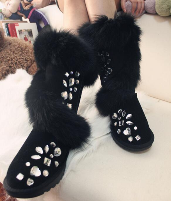 LoneLinecc Hot Black/pink Fox Genuine Leather Mid-Calf Boots Hight Increasing Flats Women's Shoes Round Toe Crystal Snow Boots рюкзак case logic 17 3 prevailer black prev217blk mid