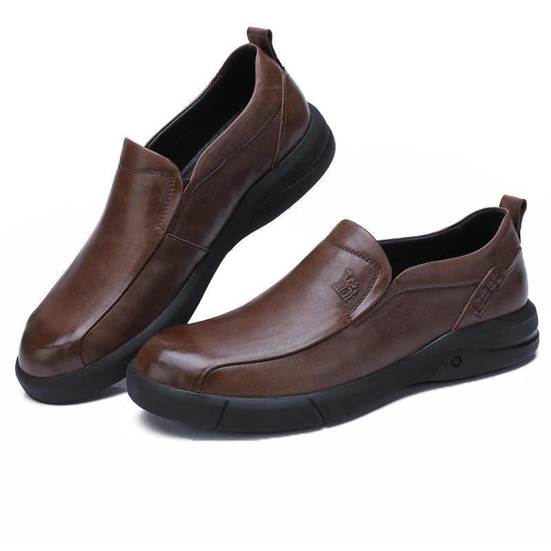 CAMEL/мужская повседневная обувь мужские лоферы в английском стиле из мягкой воловьей кожи с воском; повседневная обувь в деловом стиле на нескользящей подошве