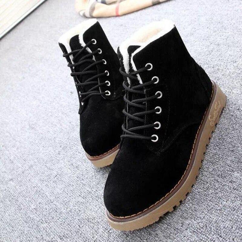 2019 Invierno Plataforma Mujer Señoras De Nuevos amarillo Tinto Up Mujeres Lace brown Zapatos Botas Negro Las Antideslizante Sh009 Nieve Botines vino Caliente vWzqvrnpx