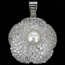 SheCrown Elegant White Sapphire Pearl Gift For Sister Silver Pendant 30x24mm
