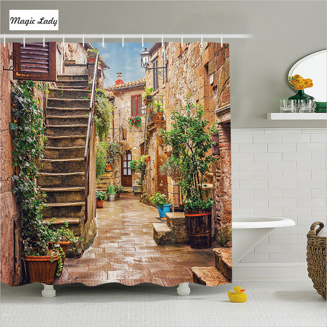 Fabric Shower Curtain Vintage Bathroom Accessories Tuscan Mediterranean Street Houses Italian Beige 180 200 Cm