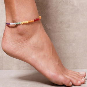 Ankle-Bracelet Anklets-Foot Foot-Jewelry Natural-Stone Vintage Boho-Beads Chakra Women