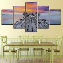 Canvas Wall Art Pictures Home Decor Living Room 5 Piece Sunrise Lake Bridge Pavilion Paintings Sunset Seascape Framework Figure
