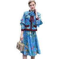 Plus Size 4XL Fashion Europese Amerikaanse Praire Chic Runway Twin Set Boog Blouse Plooirok Bloem Gedrukt Trainingspakken Outfit