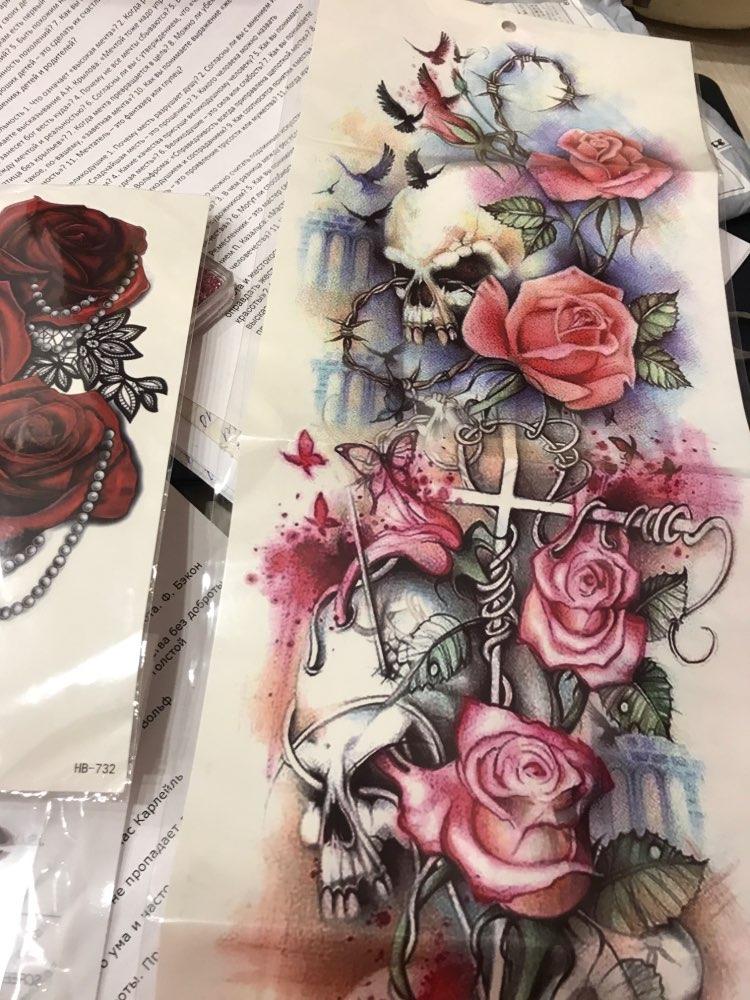 New 1 Piece Temporary Tattoo Sticker Cross skull roses pattern Full Flower Tattoo with Arm Body Art Big Large Fake Tattoo