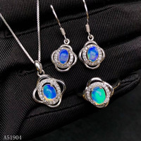KJJEAXCMY Fine Jewelry 925 Sterling Silver Inlay Natural Opal Gemstone Women's Ring Necklace Pendant Earrings Set Support Test