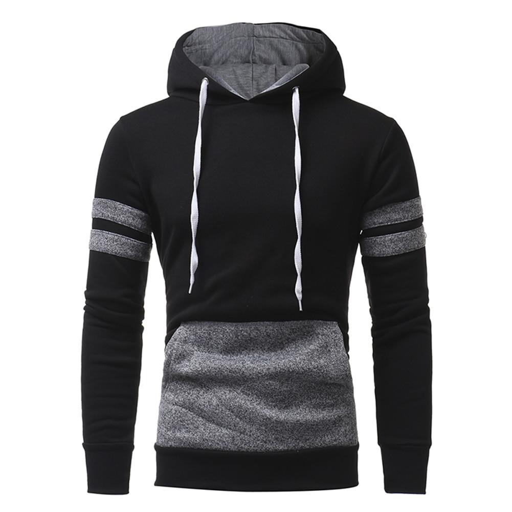 Fashion Men Casual Slim Fit Color Blocking Hoodie Sweatshirt Pullover Outwear