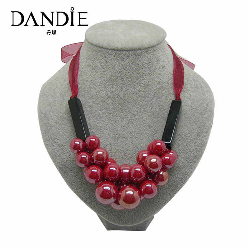 Dandie Different Size Red Acrylic Bead Short Necklace, Elegant Trend Jewelry Necklace