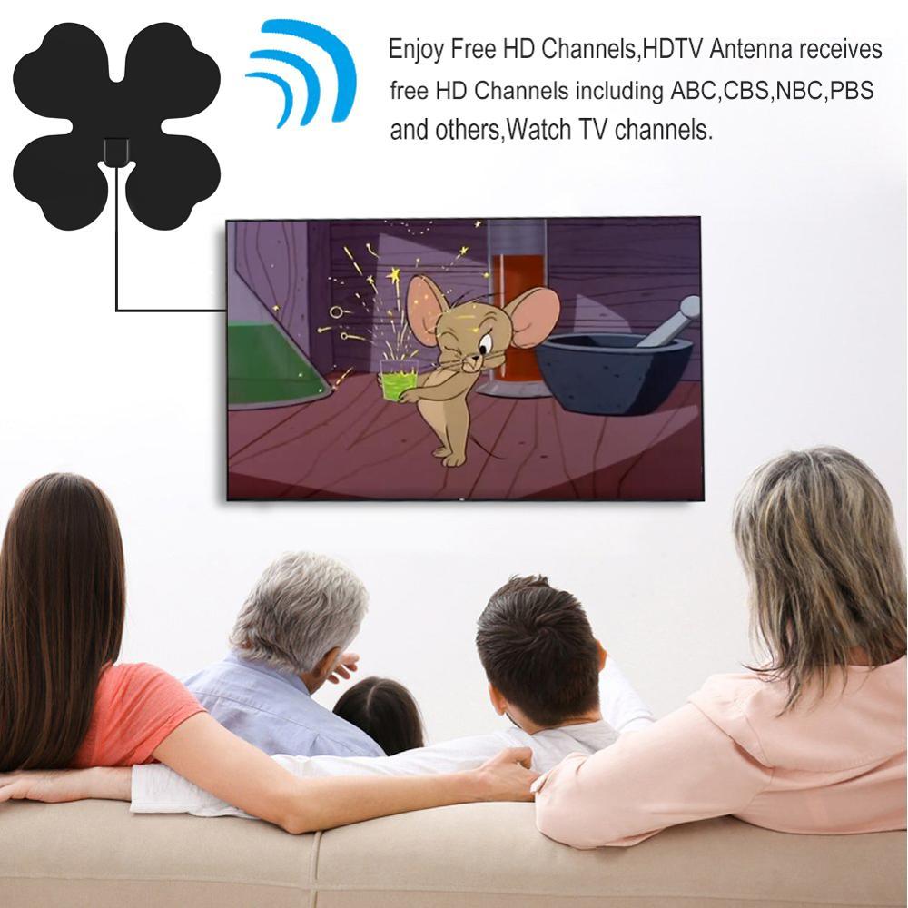 Leelbox Indoor Free Digital TV Antenna 80 Miles HDTV Antena Mini TV Aerial TV Surf HD TV Fox VHF UHF DVB T2 25DB in TV Antenna from Consumer Electronics