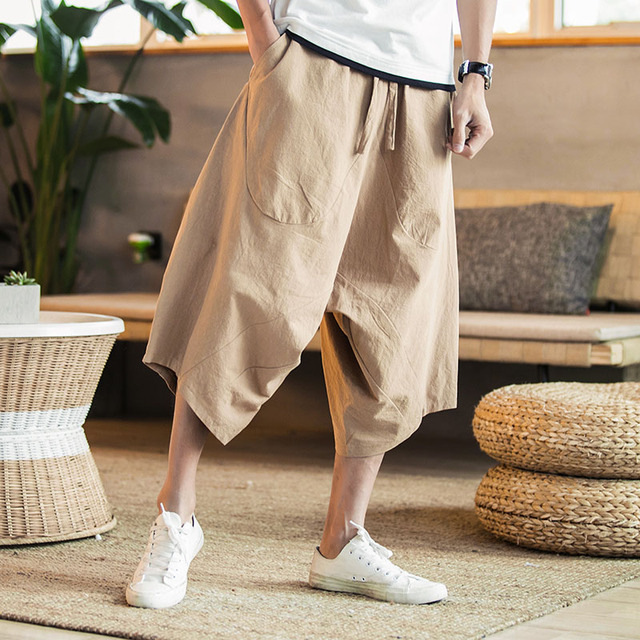 MRDONOO Men Pants Men's Wide Crotch Harem Pants Loose Large Cropped Trousers Wide-legged Bloomers Chinese Style Flaxen Baggy 80