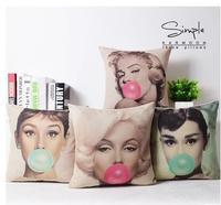 Marilyn Monroe Đệm Cover Cover Audrey Hepburn Pillow Case Cotton Linen Ném Gối Ghế/Xe/Sofa Đệm Trang Trí Bao Gồm 45x45