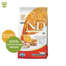 N&D Low Grain Cat Codfish & Orange корм для взрослых кошек, Рыба и апельсин, 300 г.