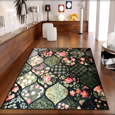 Else Green Black Pink Roses Flowers Patchwork 3d Print Non Slip Microfiber Living Room Decorative Modern Washable Area Rug Mat