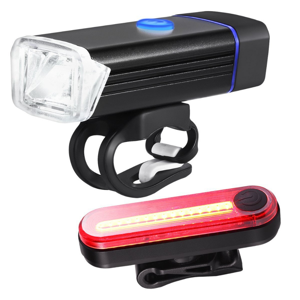 Portable Bike <font><b>Bicycle</b></font> Lights USB LED Rechargeable <font><b>Set</b></font> Mountain Cycle Front Back Headlight Safety Warning Light Bike Accessories image