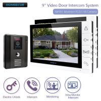 HOMSECUR New 9 Wired Video Door Phone Doorbell Home Security Intercom System+IR Night Vision for House/Flat