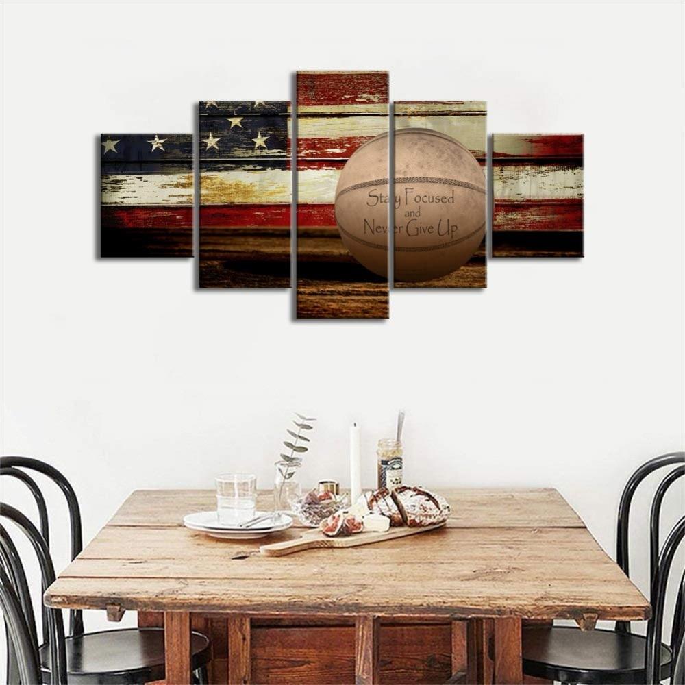 Basketball Sports Canvas Wall Art For Boys Bedroom Decor: USA US American Basketball Sports Flag Canvas Wall Art