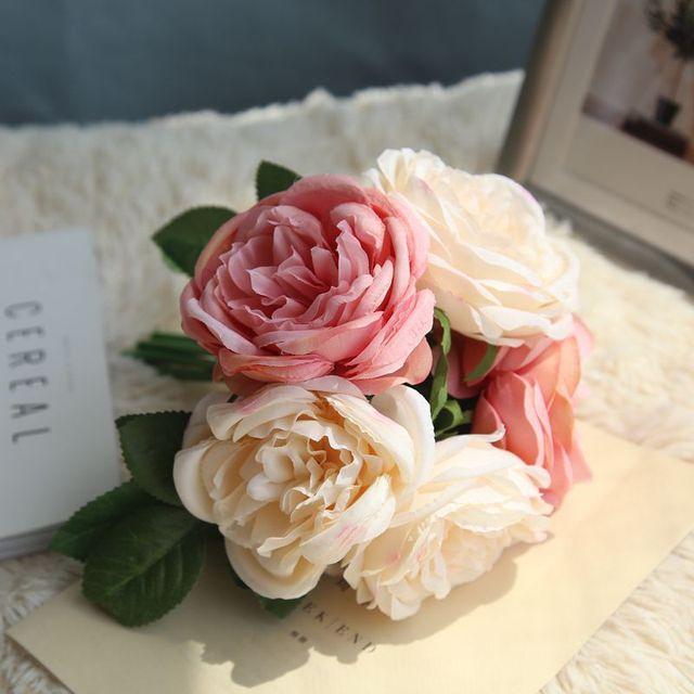 Aliexpress buy silk rose bouquet blush pink flower bouquet silk rose bouquet blush pink flower bouquet dusty blue wedding flower lavender flowers 5 heads for mightylinksfo