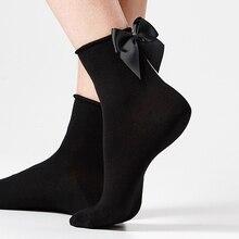 women spring summer cotton socks with big ribbon bowknot meias girls ankle short vintage bow sokken